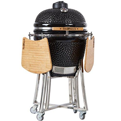 AsVIVA Redneck Keramik Grill (52cm Grillfläche), professioneller BBQ, Bambus Ablagen, Edelstahl Anbauteile, Thermometer, Spezialdichtungen (bis zu 400°C), schwarz