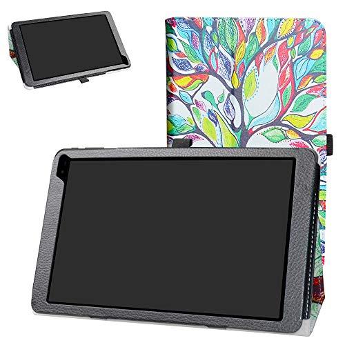 Barnes & Noble Nook Tablet 10 Case,Bige PU Leather Folio 2-Folding Stand Cover for Barnes & Noble Nook Tablet 10 (BNTV650) 10.1-inch Tablet,Love Tree