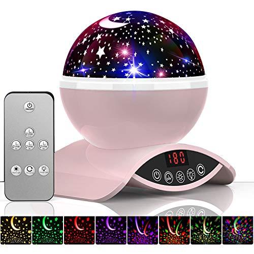 Amouhom Sternenhimmel Projektor Lampe mit Fernbedienung, LED Nachtlicht mit Wiederaufladbare Batterie 360 Drehen und Timing Schlaflicht für Kinders Schlafzimmer für Frauen(Rosa)