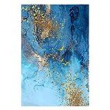Lámina de oro azul abstracto Mármol Lienzo Pintura Arte de la pared Cartel e impresión Imágenes grandes para la sala de estar Decoración del hogar 20x30 cm Sin marco