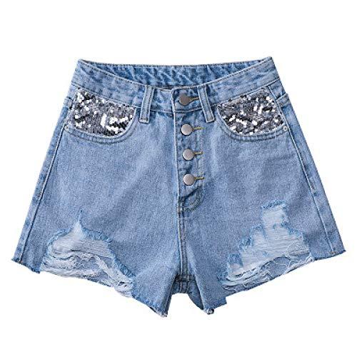 Pantalones Cortos de Mezclilla clásicos de Cintura Alta de un Solo Pecho para Mujer Tendencia de Moda Costura Pantalones Cortos de Mezclilla básicos Sueltos Rasgados XL