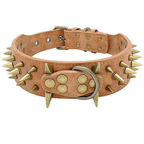 Beirui 2' Spiked Leather Dog Collar - Anti-Bite Sharp Rivet Studded...