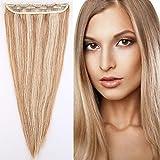 Extension a Clip Cheveux Naturel Rajout Monobande Une Pièce 100% Cheveux Humain Vrai Cheveux Remy #12+#613 Mix - 60 cm (60g)