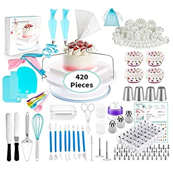 Cake Decorating Supplies Kits 420 PCS Baking Set Rotating Turntable Fondant Mould Sugarcraft Cutters Muffin Cup Mold 48 Piping Icing Tips with Chart,4 Russian Nozzles Cupcake tools for Beginners