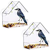 XYDZ 2PCS Comedero Acrílico para Ventana, Comedero Aves de Ventana para Colgar Pájaros con 3 Ventosa Extra Fuertes Dispensador de Comida para Pájaros, Gorriones y Pájaros Pequeños