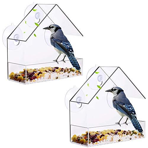 XYDZ 2PCS Fenster Futterhaus für Vögel, Perspex Fenster Futterstelle aus transparentem Acryl mit 3 Saugnäpfen Hängender Vogelhäuschen mit freiem Fenster für Meisen Spatzen & kleineren Wildvögel