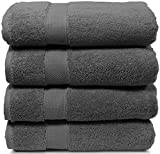 Maura 4 Piece Bath Towel Set. Extra Large 30'x56' Premium Turkish Towels. Thick, Soft, Plush and Highly Absorbent Luxury Hotel & Spa Quality Towels - Space Gray