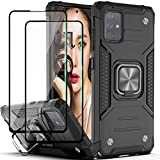 Galaxy A71 5G Case (Not Fit A71 4G) with Tempered Glass Screen Protector[2 Pack],YmhxcY Armor Grade with Rotating Holder Kickstand Non-Slip Hybrid Rugged Phone Case for Samsung Galaxy A71 5G-Black