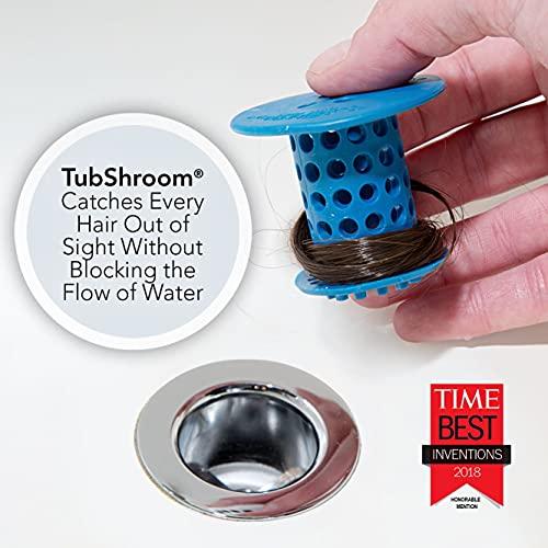 TubShroom Revolutionary Tub Drain Protector Hair Catcher/Strainer/Snare, Blue