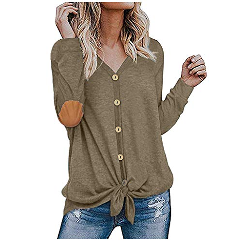 GOKOMO Damen Wintermode Langarm Ellenbogen Patch Button Hem Tied Top(Khaki,Large)