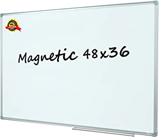 Lockways Magnetic Dry Erase Board, White Board 48 x 36 Inch, Silver Aluminium Frame