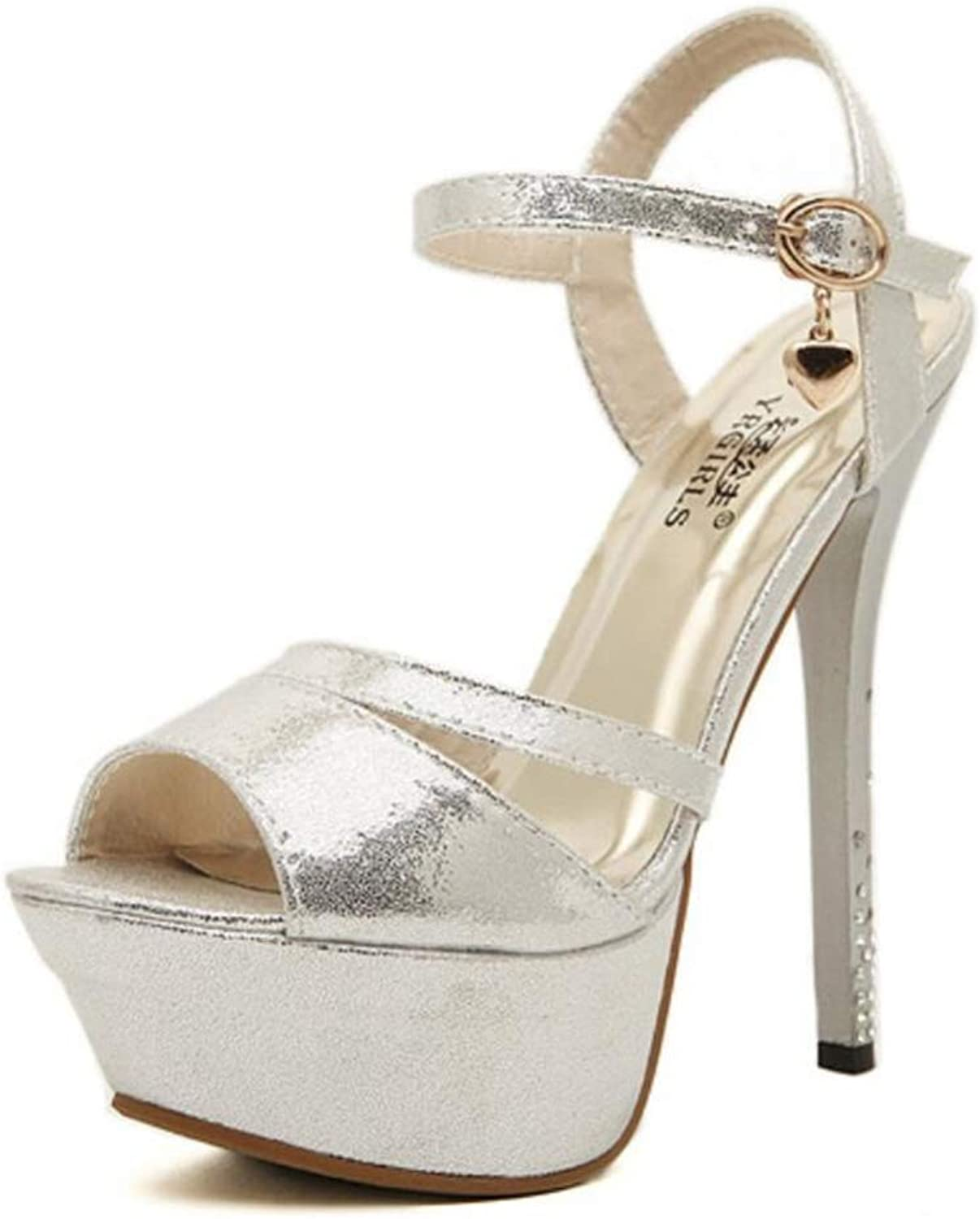 Shiney High Heel Women's Sandals Princess Peep Toe Waterproof Platform Stiletto Heels Party