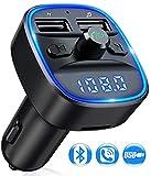Transmetteur FM Bluetooth, Bluetooth Lecteur MP3 Adaptateur Radio sans Fil Kit Émetteur FM Voiture Chargeur, Appel Mains Libres, 2 USB Port 5V/2.4A1A, Support Carte SD/Clé USB