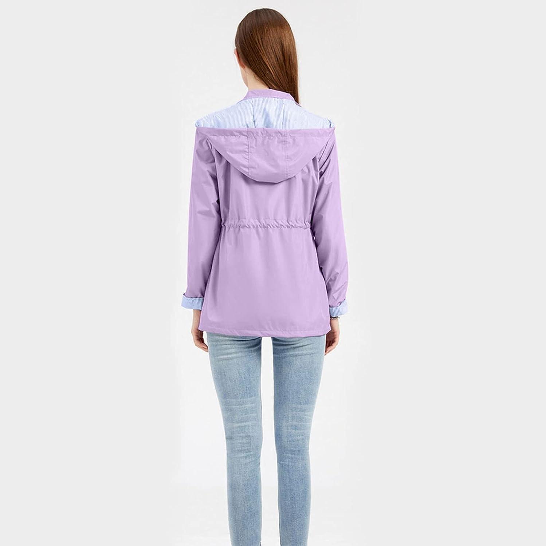 SNKSDGM Women's Zip Up Raincoat with Hood Drawstring Rain Jackets Breathable Waterproof Windbreaker for Outdoor Travel Hiking