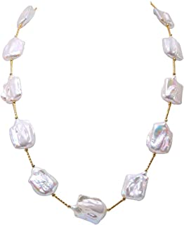 JYX Pearl Tin Cup Station Necklace White and Lavender Baroque Freshwater Cultured Pearl Necklace