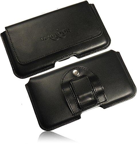 MATADOR Echt Ledertasche Gürteltasche Quertasche mit Gürtelclip/Schlaufe für ASUS Zenfone 2 Deluxe Handytasche mit Magnetverschluss (Schwarz/Black)