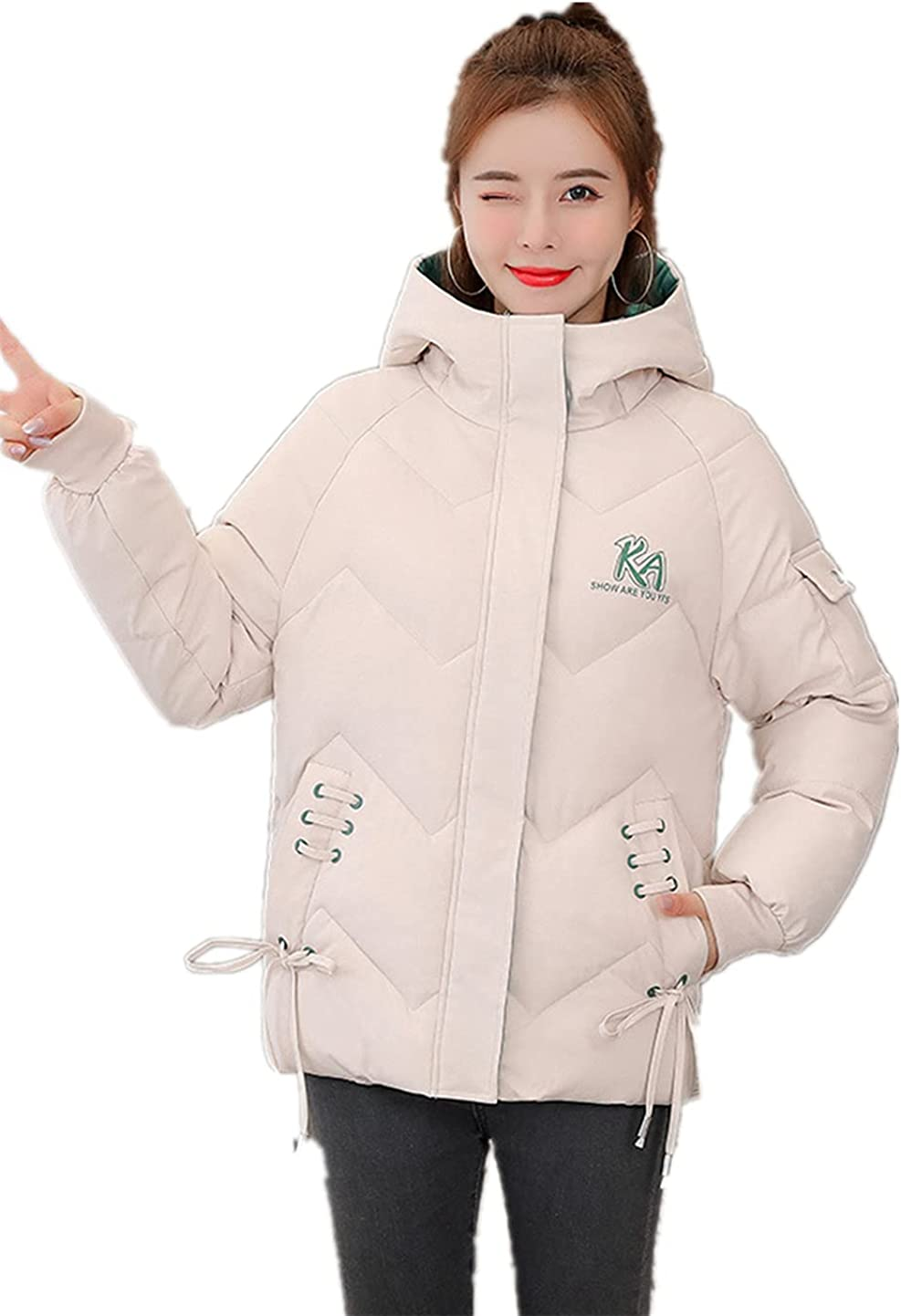 Winter Women Printed Cotton-Padded Jacket Short Padded Hooded Loose Padded Jacket