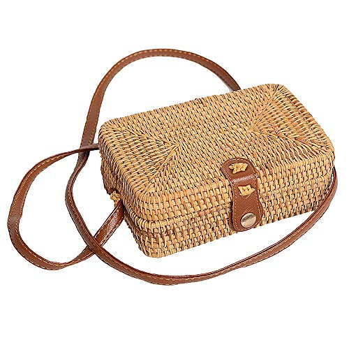 Faxiang Bolsa Cruzada de Paja Hecha a Mano Tejida Bolsa de Playa Estilo Retro Redondo Cuadrado Bolsa de Mimbre, ratán, Square, 19 * 13 * 6cm