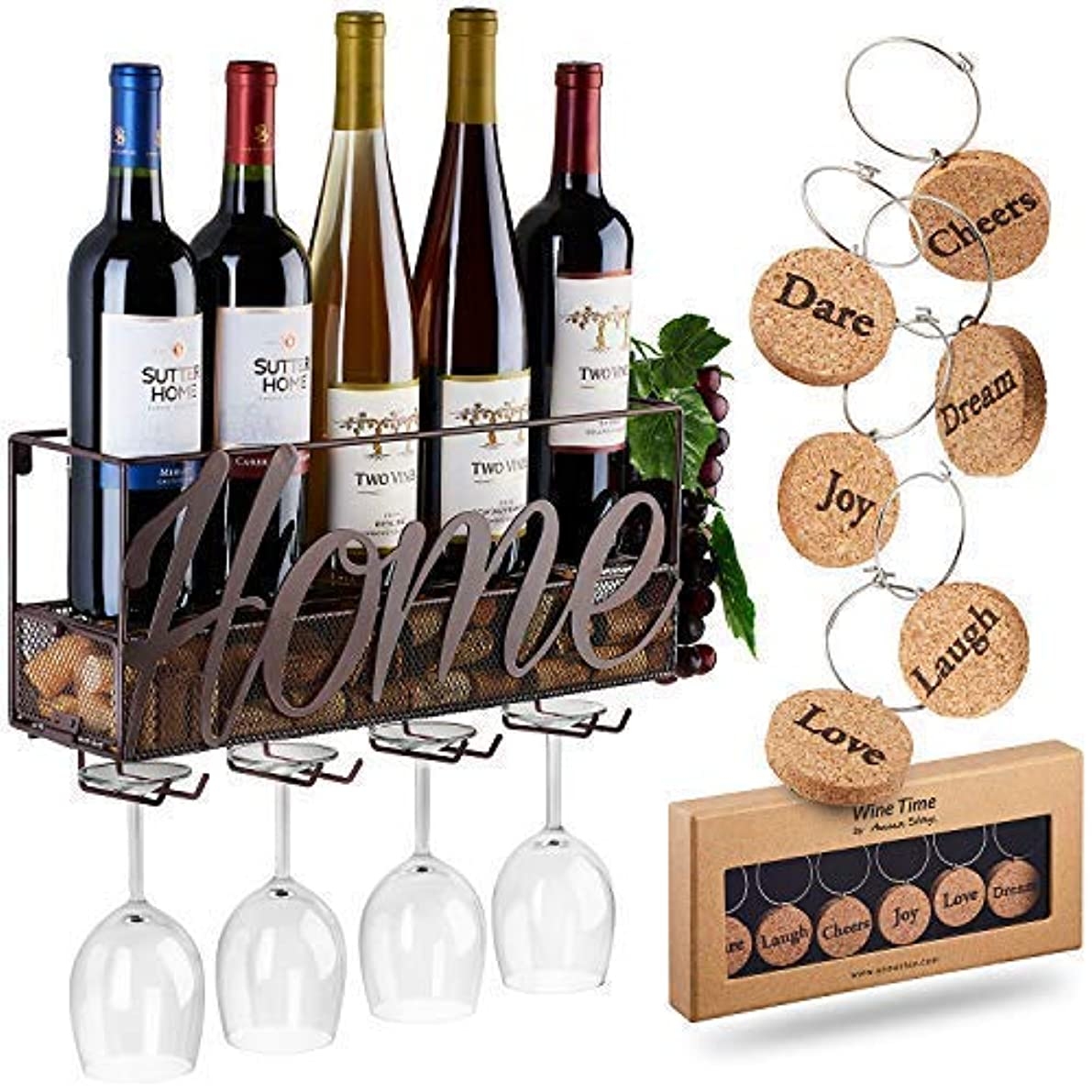Wall Mounted Wine Rack | Bottle & Glass Holder | Cork Storage Store Red, White, Champagne | Come with 6 Cork Wine Charms | Home & Kitchen Décor | Storage Rack | Designed by Anna Stay,Home