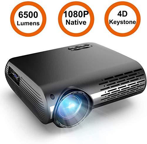 Proyector,6500 Lúmenes Proyector Full HD 1920x1080P Nativo Proyector Cine en Casa Soporta 4K Pantalla 300