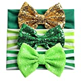 CheeseandU 3Pcs St Patricks Day Headband for Baby Girls Boys Green Shamrock Striped Elastic Hairbands Big Sequin Bow Headbands St. Patrick Day Clover Hair Accessories,Green&White&Gold