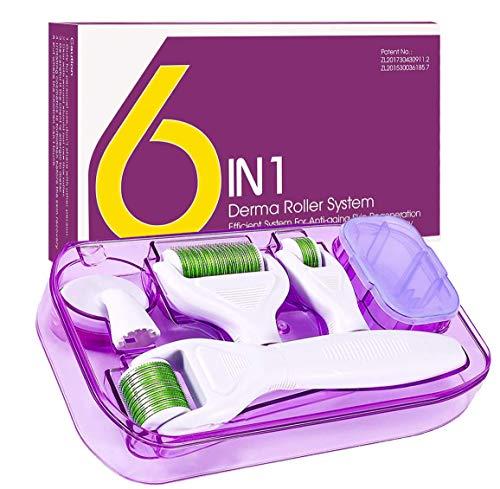 Dermaroller, 6 en 1 Derma Roller, Derma roller, Ideal para tratar cara, Anti-Edad, Antiarrugas, rodillo facial titanio, por Ojos, Cara, Cuerpo