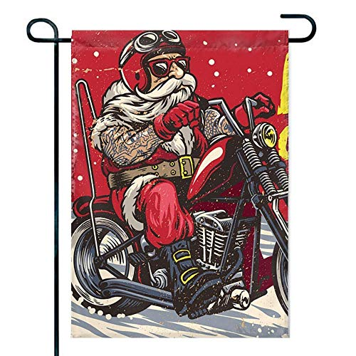 Amuseds Santa Claus Riding a Motorcycle Garden Flag Holiday Decoration Double Sided Flag 12' x 18'
