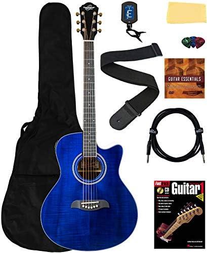 Oscar Schmidt OA10CE Mini Auditorium Acoustic Electric Cutaway Guitar Bundle w Gig Bag Gearlux product image