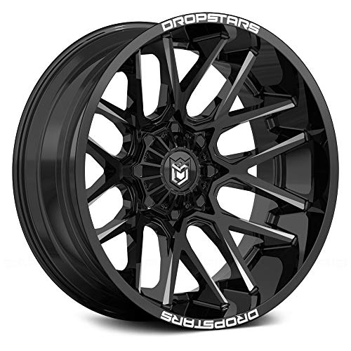 Dropstars 654BM DEEP CONCAVE BLACK Wheel with Gloss CNC Milled Accents (0 x 10. inches /6 x 120 mm, -25 mm Offset)