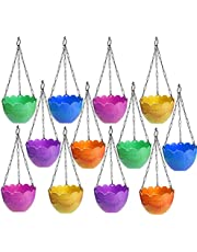 Techhark® Pack of 12pcs Hanging Planter Pot with Metal Chain for Indoor Plants Pot, Flower Pot and Balcony Pots Home Gardening (Pack of 12)