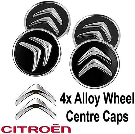 4 tapacubos centrales para llantas de aleación para Citroën C1, C3 C4, DS3, de 60 mm, de color negro, válido para la mayoría de modelos