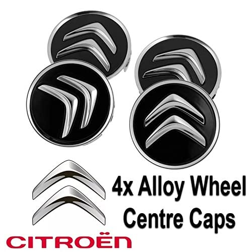 4x Citroen Alloy Wheel Centre Hub Caps in Black C1 C3 C4 DS3 60mm Most Models