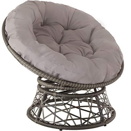 TecTake 800797 Papasansessel mit großem weichem Kissen, drehbarer Rattansessel, Drehsessel mit verstellbaren Füßchen, runder Korbsessel - Diverse Farben - (Grau | Nr. 403553)