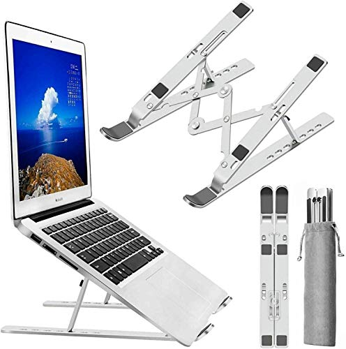 "Adjustable Laptop Stand, Foldable Ventilated Holder with Non-slip Silicone, 7 Angles Height, Portable Lightweight Vertical Laptop Holder For MacBook Pro/Air HP More (Up To 15.6"")"