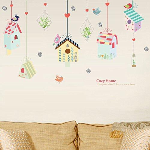 Bodhi2000 - Adhesivo decorativo para pared, diseño de jaulas de pájaros