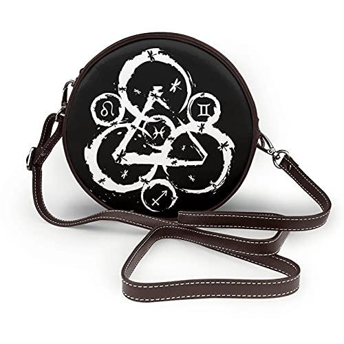 EDGHUOEIH Co-heed and Cam-bria - Bolso de piel para mujer, diseño redondo y cruzado, color negro