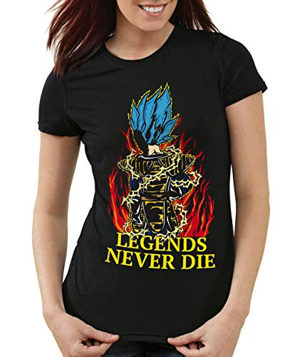 Legends Never Die - Vegeta Blue God Mode T-Shirt Femme Ball z, Color:Nero;Talla:XS