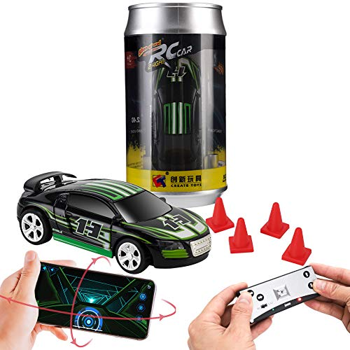 Remote Control car, Gravity Sensor Control, Remote Control, Mobile Phone Control 3 Modes of RC Car, Creative Coke can Pocket Racing, 2.4G (Black)