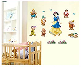 Wall Sticker Decal Snow White and the Seven Dwarfs Kids Room Decor Mural Nursery Daycare and Kindergarten DIY Self adhesive Removable 10 x 17 Inch