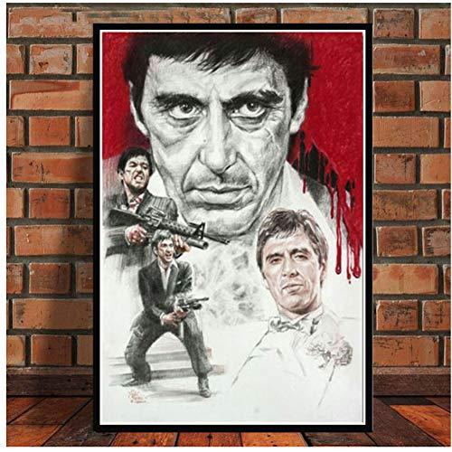 A&D AL Pacino Scarface Gangster Filmplakat Wandkunst Bild Poster und Drucke Leinwand Gemälde für Room Home Decor -50x70cm Kein Rahmen