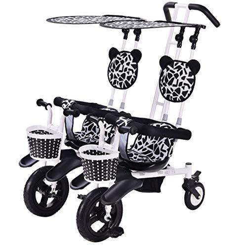 EEUK Tricycle Dreirad Kinderdreirad, Bis 50 Kg, Zwei Kinder, mit Lenkbarer Schubstange, Flüsterleise Gummireifen und Sonnendach, 1-4 Jahre Geeignet