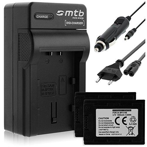 2 Akkus + Ladegerät (KFZ, Netz) für Samsung IA-BP210E / HMX-S15, H400. / SMX-F70. - Siehe Liste