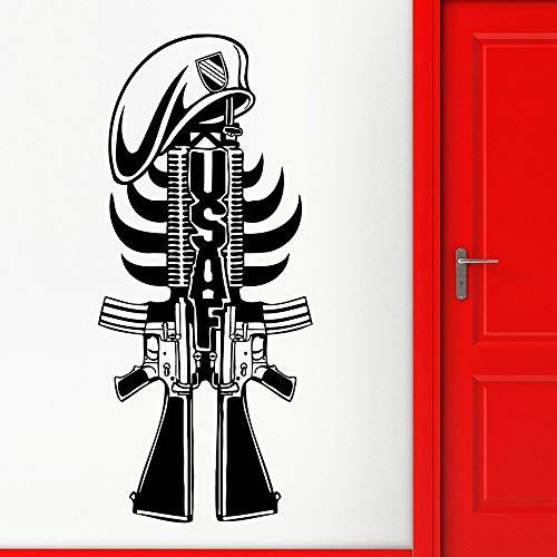JXFM DIY Gun Wandaufkleber Cool Style Waffe Vinyl Wandtattoo Home Decoration passend für Männer Höhle Spielzimmer 57x25cm