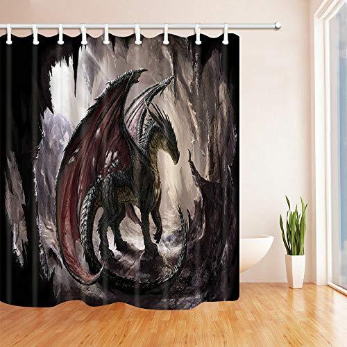 JHTRSJYTJ Fliegender Drache Duschvorhang ist geeignet für Badezimmer,Polyester wasserdicht,12Haken,180X200cm,Wohnkultur in der Höhle