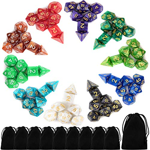 10 X 7 Polyhedral Dice Set (70 Pieces) for Dungeons and Dragons DND RPG MTG Table Games D4 D6 D8 D10 D% D12 D20 with 10 Pack Black Bags, 10 Colors