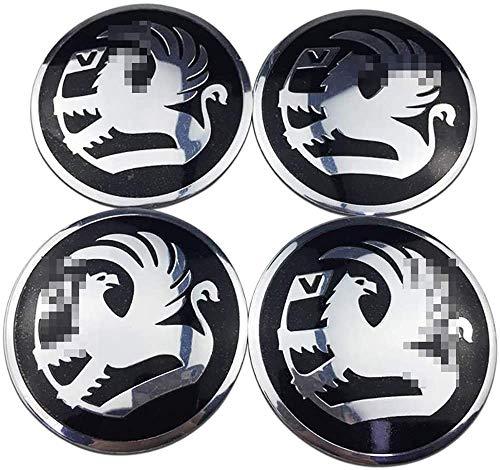 LHSEX Coche 4Pcs 56mm, Tapas de Cubo de Rueda Emblema 3D Tapas centrales de Cubo de Aluminio con Pegatinas de Logotipo Accesorios de Coche, para Vauxhall Corsa Mokka Meriva