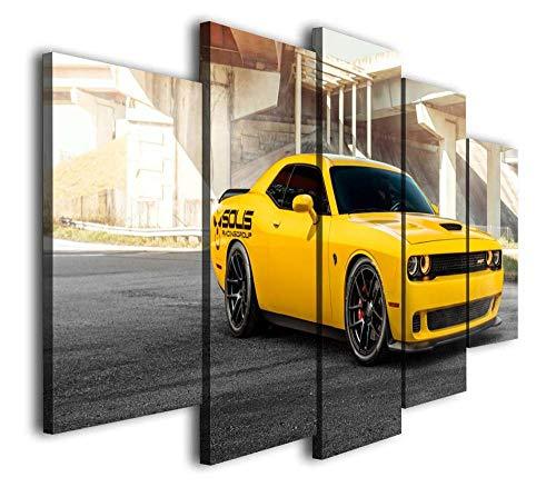 VKEXVDR Cuadro sobre Lienzo - 5 Piezas - Impresión en Lienzo - Super Coche Amarillo retador - Diseño Exquisito - Listo para Colgar - en un Marco
