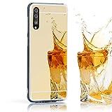 NALIA Custodia Specchio compatibile con Samsung Galaxy A50, Sottile Protettiva Morbido Silicone Case Cover Bumper, Antiurto Protezione Cellulare Resistente Mirror Copertura Telefono, Colore:Gold Oro