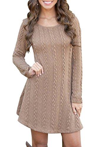 YMING Damen Sweater Langarm Rund Ausschnitt Strick Pullover Jerseykleid Sweater Kleid,Khaki,M