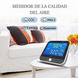 Tackly Medidor de co2 ambiente - detector co2 con medidor calidad de aire interior - higrometro digital medidor de humedad y termómetro digital para casa - medidor co2 ndir
